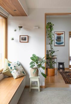 Photo 4 of 15 in A Cramped Bungalow Is Reborn as an Eco-Minded Abode… - Gulve - Home Decor Furniture, Home Decor Bedroom, Living Room Decor, Furniture Design, Living Room Bench, Window Benches, Window Seats, Interior Design Studio, Room Interior