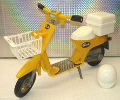 Sindy Doll Yellow Scooter With Basket & Helmet -just like the one mum had.