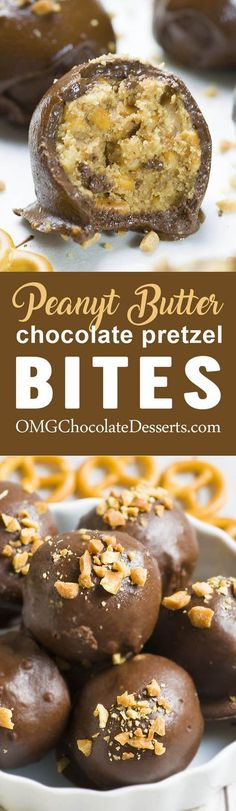 Easy no bake Chocolate Peanut Butter Pretzel Bites are the best sweet and salty dessert and my favoritesnack.