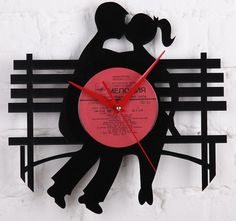 Romantic gifts wall clock made of a single vinyl record from Vinyl Record Crafts, Vinyl Record Clock, Vinyl Records, Romantic Gifts For Men, Clock Craft, Artist Business Cards, Unique Clocks, How To Make Wall Clock, Valentine Day Love