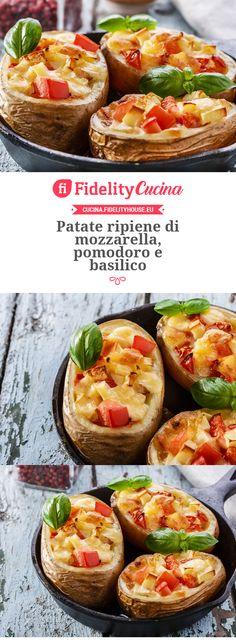Patate ripiene di mozzarella, pomodoro e basilico
