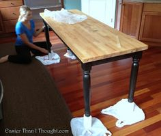 Easier Than I Thought: Rescued And Repurposed  Dining Table To Butcherblock  Island