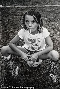 Serious athlete: Kate snapped these pictures of her daughter Ella, nine, before her first triathlon and while she was playing soccer (pictured)