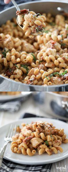 One-Pan Chicken Sun-Dried Tomato Pasta #onepotmeal #pasta #recipe #sundriedtomatoe