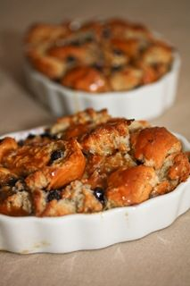 White Chocolate Blueberry Bread Pudding with Salted Caramel Sauce