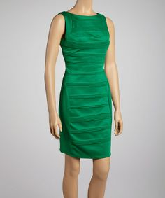 Another great find on #zulily! Green Pleated Sleeveless Dress by Julia Jordan #zulilyfinds
