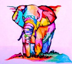 colorful elephant. (: