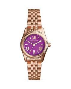 Michael Kors Mini Rose Gold–Tone & Purple Lexington Watch, 26mm