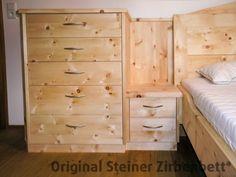 Zirbenbett, Massivholzbett, Modell Kranzhorn mit Kommode, Steiner ...
