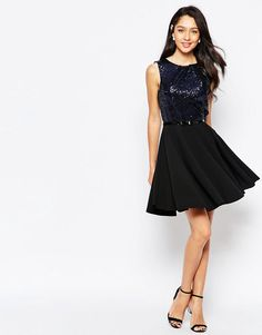 Image 4 ofCloset Sequin Fit and Flare Dress with Sequin Bodice