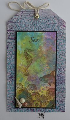Big Tag. Background: Oxide Ink, Stamps: Art Journey with Versafine Brown,