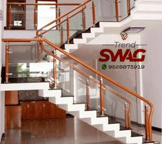 Trend swag Presents Glass Railing For Interior and Decor your house Contact Trendswag917@gmail.com +919528873919 Steel Stair Railing, Steel Stairs, Staircase Railings, Glass Railing, Railing Design, Door Design, Philippines House Design, Philippine Houses, False Ceiling Living Room