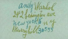 """Andy Warhol's business card (From """"Business Cards Of The World's Most Famous People - DesignTAXI.com"""")"""
