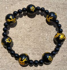 Mens Stretch Beaded Bracelet/ Black Onyx by GoodEnergyVibes
