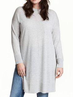78352d5897 Plus Size Long Gray Side Slit Sweater