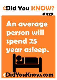 An average person will spend 25 years asleep. Wtf Fun Facts, True Facts, Crazy Facts, Random Facts, New Things To Learn, Things To Know, The More You Know, Good To Know, Human Body Facts