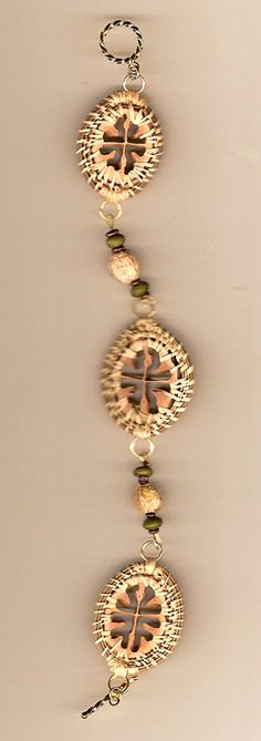 pine needle bracelets | this bracelet usinghickory nut slices, handwoven with pine needles ...