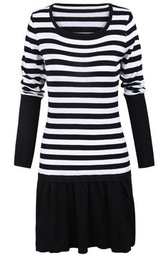 Black White Striped Long Sleeve Pleated Sweater Dress US$33.28