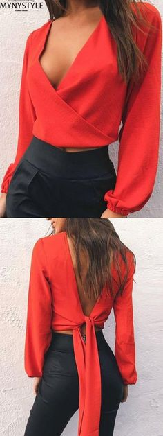 2429d19cd715a Shop Online for MYNYSTYLE Red V-neck Bow Tie Detail Open Back Long Sleeve  Blouse