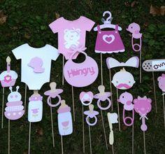 Items op Etsy die op Photo booth props: pink baby shower~baby girl baby shower~pink shower decor~bib~bottle~ pink dress~ baby girl pink photo booth props lijken