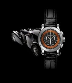 The RL Automotive Chronograph watch by Ralph Lauren is inspired by the 1938 Bugatti Type 57SC Atlantic Coupe vintage car. With a stainless steel case, a burl wood ring and a leather strap, this watch is the definition sophisticated class with a touch of gentlemen's club. #watches #inspiration. See more: http://www.thejewelleryeditor.com/watches/ralph-lauren-watches-for-men-small-toys-big-boys/