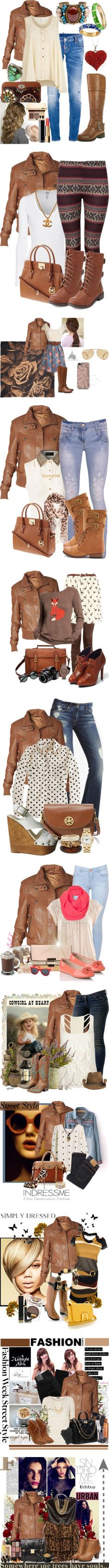 """""""Sets with Leather Jacket"""" by hannahmarie1724 ❤ liked on Polyvore   Like SOME of them."""