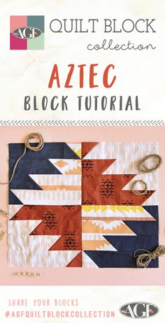 Fun Cutting Method - Aztec Block Hello Fabric Friends, Hope you all had a fun July Today I have a great new quilt block tutorial for you called the Aztec Block! I sewed it up with Arizona After fabrics by April Rhodes which I th Quilt Square Patterns, Quilt Patterns Free, Pattern Blocks, Square Quilt, Strip Quilts, Quilt Blocks, Quilting Projects, Quilting Designs, Southwestern Quilts