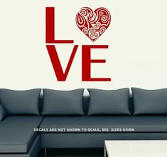 Love With Pretty Heart Wall Art Sticker Vinyl Decal Various Sizes Heart Wall Art, Bird Wall Art, Sticker Vinyl, Wall Decals, African Market, Smooth Walls, Beautiful Wall, Vinyl Designs, Decorating Your Home