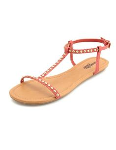 Studded T-Strap Flat Sandal: Charlotte Russe