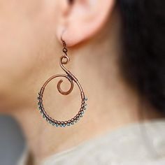 Copper Wire Handmade Jewelry | Caymancode Wire Jewelry Earrings, Funky Earrings, Wire Wrapped Earrings, Diy Earrings, Copper Jewelry, Earrings Handmade, Handmade Jewelry, Copper Wire, Handmade Wire