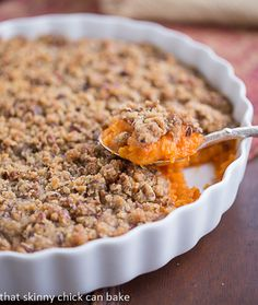 Praline Topped Sweet Potato Casserole | http://www.thatskinnychickcanbake.com/2013/11/praline-topped-sweet-potato-casserole-plus-thanksgiving-side-dishes.html