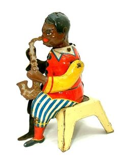 1920 Gunthermann Tin Litho Black Saxaphone Player Musical Wind Up Toy Germany