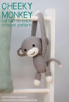 Cheeky Monkey curtain tie back crochet pattern von ThoresbyCottage