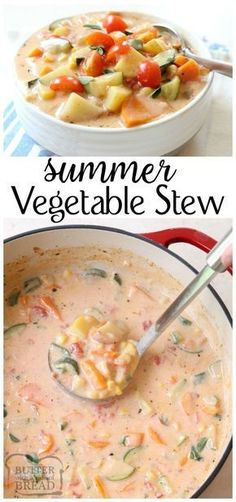 Delicious Summer Vegetable Stew filled with tomatoes, zucchini, carrots and more. Fresh flavors perfect for a weeknight summer meal when the garden is overflowing. Easy #stew / #soup #recipe from Butter With A Side of Bread via @ButterGirls
