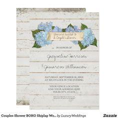 Couples Shower BOHO Shiplap Wooden Board Hydrangea Card