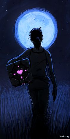 Chell and the companion cube.