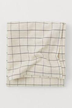 Linen-blend tablecloth - Light beige/Grey checked - Home All   H&M GB H&m Home, H&m Gifts, Marketing Materials, Light Beige, Fashion Company, World Of Fashion, Home Accessories, Personal Style, Cotton