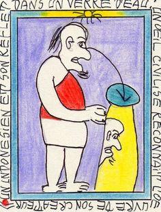 Frédéric Bruly BOUABRE: Né en 1923 à Zéprégühé,Côte d'Ivoire. Ce poète dessinateur, créateur, penseur mais également encyclopédiste inventa une écriture spécifiquement africaine.Ses pictogrammes, tracés au stylobille ou aux crayons de couleur sur des morceaux de carton, transcrivent des contes et légendes ,des récits mythologiques ou des évènements de la vie quotidienne. Bouabré s'est éteint le 28 janvier dernier à Yopougon en Côte d'Ivoire.