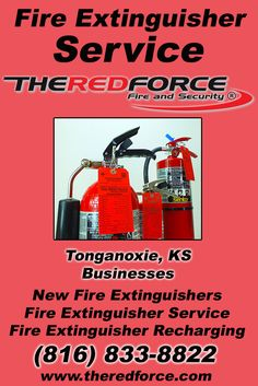 Fire Extinguisher Service Tonganoxie, KS (816) 833-8822.. Local Kansas Businesses you have found the complete source for Fire Protection. Fire Extnguishers, Fire Extinguisher Service.. We're got you covered.. The Red Force Fire and  Security.