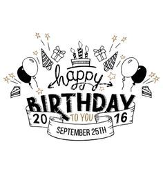 happy birthday greeting card hand lettering vector more source
