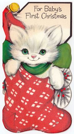 "kitten in stocking ""For Baby's First Christmas"""