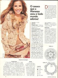 Encantos Artesanatos: Casaco de crochê Wanessa Camargo