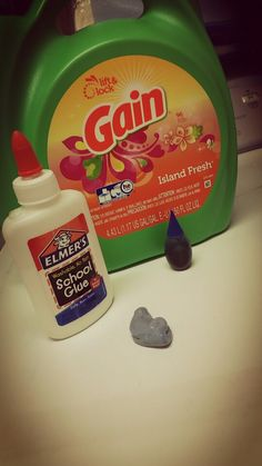 Ingredients for this DIY slime is:Glue, laundry detergent,and Food Coloring :Pour the glue in a container then put the laundry detergent in and finally but the food coloring,and Mix it until it's slime Good Luck!!
