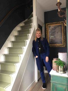 painted stairs, green painted 'carpet' Painted Stairs, Shades Of Green, 50 Shades, Home Decor Kitchen, My Style, Coat, Blog, Carpet Ideas, Entrance Hall