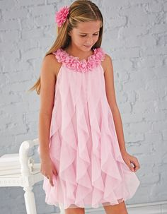 Pink Floral Neck Ruffle Dress for girls. Pink Floral Neck Ruffle Dress for girls. Frock Patterns, Girl Dress Patterns, The Dress, Baby Dress, Ruffle Dress, Dresses For Tweens, Girls Dresses, Little Girl Fashion, Kids Fashion