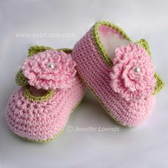 Ravelry: Chrysanthemum crochet baby booties with flowers, leaves and pearls pattern by Jennifer Ann Lownds
