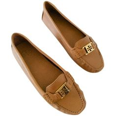 Pre-owned Tory Burch Kendrick - Tan Flats ($159) ❤ liked on Polyvore featuring shoes, flats, none, tory burch flats, tan shoes, ballet pumps, ballerina flat shoes and tan flats