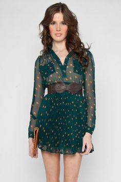 Dots to Pleats Belted Dress in Forest $60 at www.tobi.com