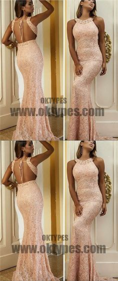 Long Mermaid Prom Dresses, Pink Lace Prom Dresses With Little Beading, Grecian Prom Dresses, Backless Prom Dresses, TYP0228 #promdresses