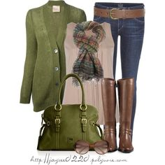"""""""Fall Green and Brown"""" by jaycee0220 on Polyvore"""
